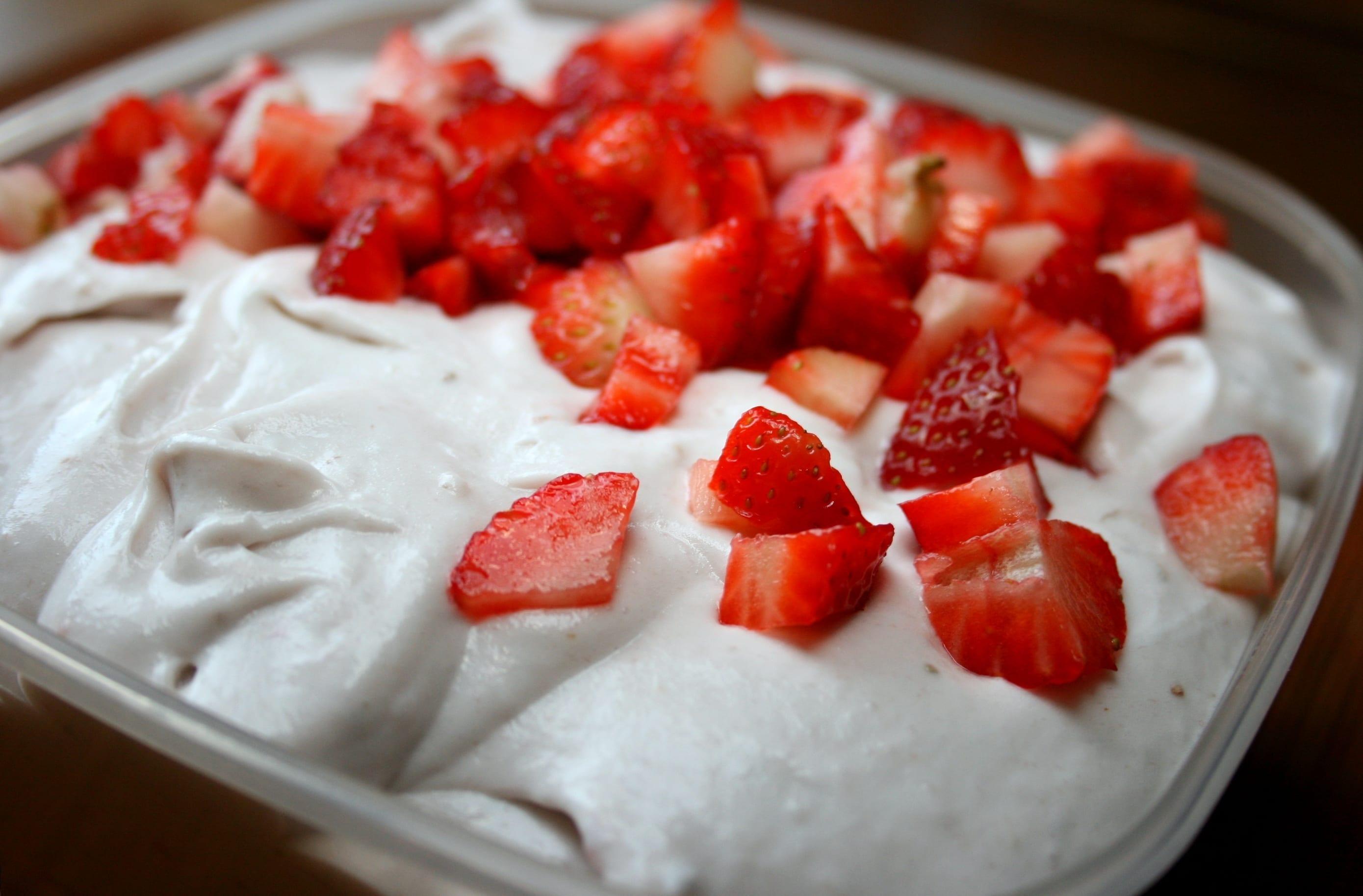 ice cream, coconut, recipe, raw, strawberries