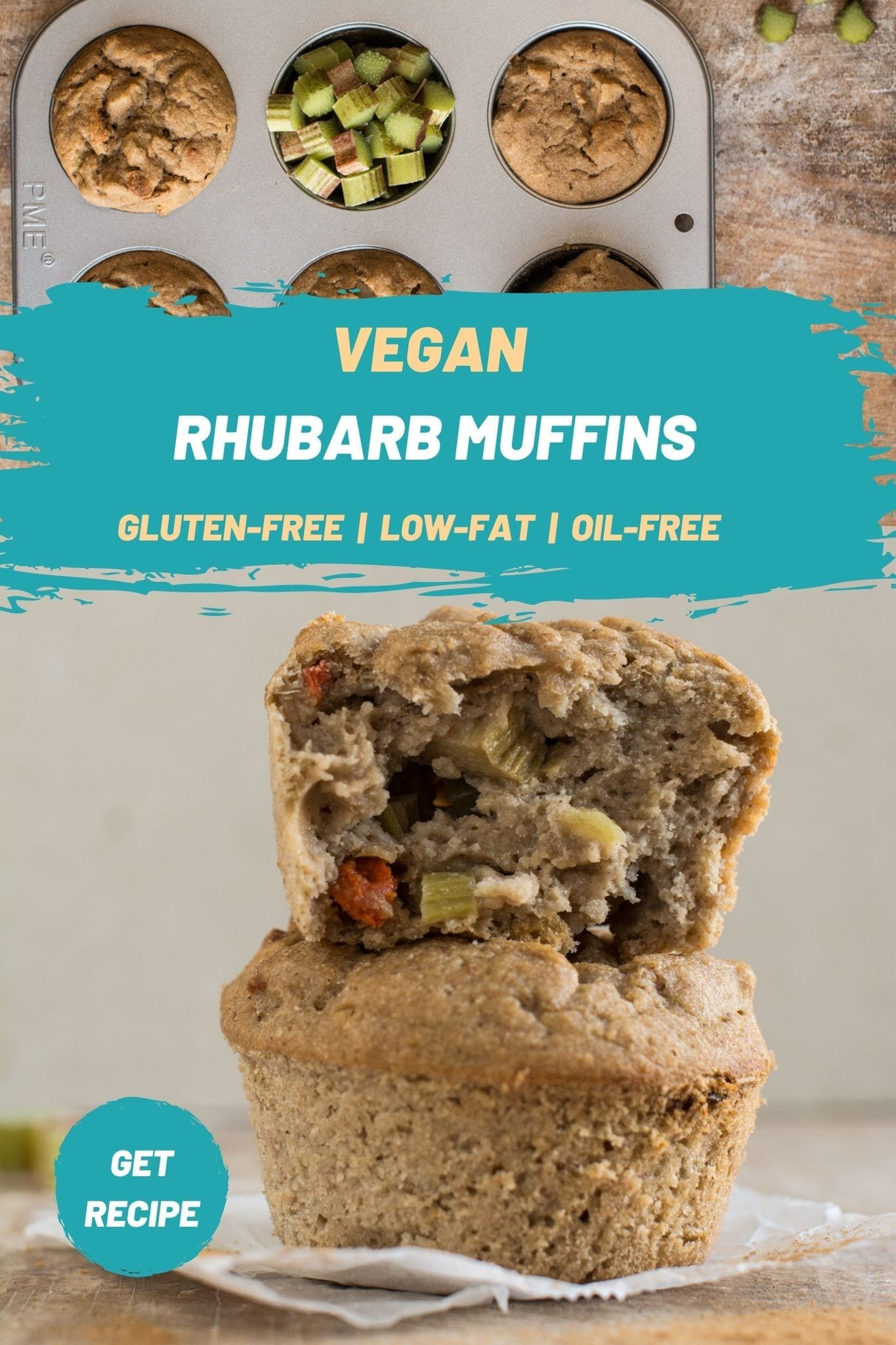 These vegan rhubarb muffins make a perfect breakfast or a lean snack to enjoy in the afternoon with tea. Besides being quick and easy to make, they are also oil-free, sugar-free, dairy-free, gluten-free.