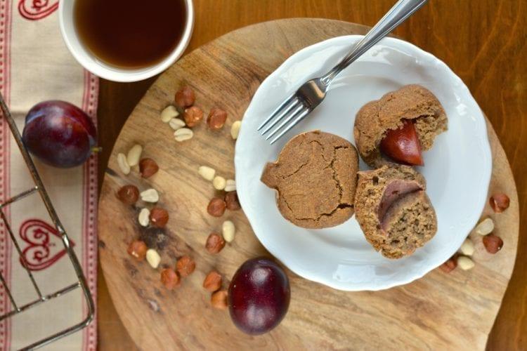 recipe, bake, muffin, applesauce, dates, hemp flour, buckwheat, coconut milk, plums, plant-based, vegan, gluten-free, casein-free, lactose-free, dairy-free, egg-free, sugar-free, oil-free, low-fat