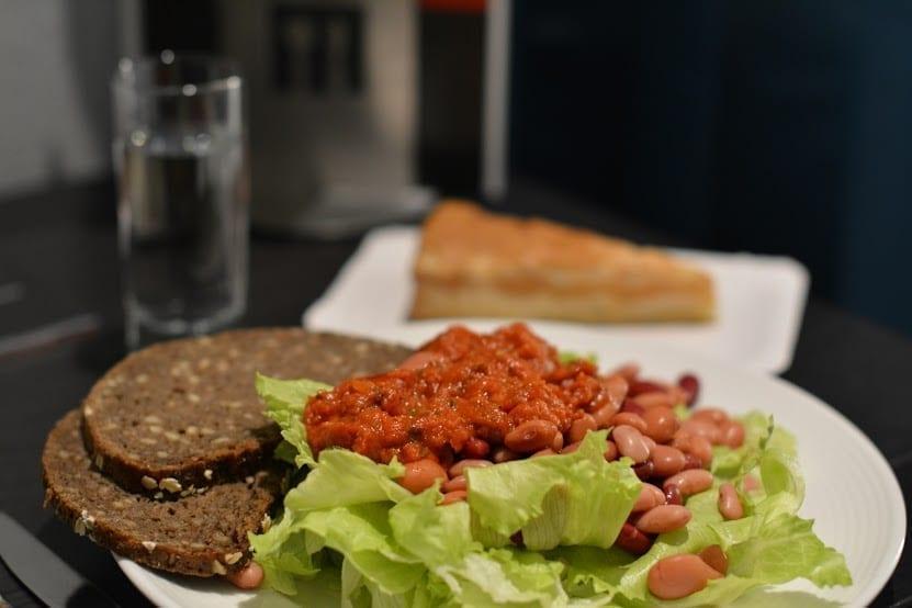 Iceberg, Rye Bread, Canned Beans, Tomato-Basil Sauce, Vegan Tiramisu