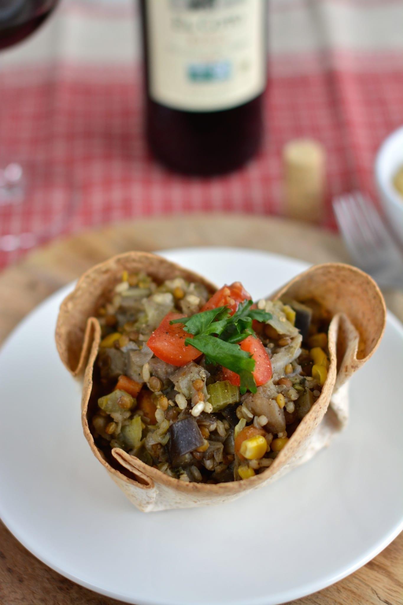 Tortilla Bowls Filled with Rice-Lentil-Veggie Stew