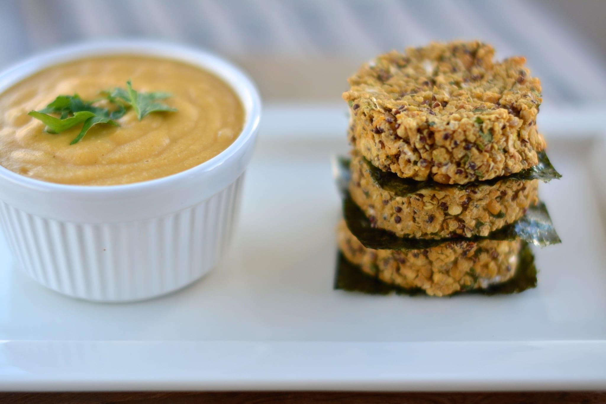 Chickpea-Quinoa Patties with Cheesy Vegan Sauce