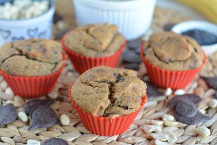 Banana-Mango-Chocolate Chunk Spelt Muffins with Poppy Seeds