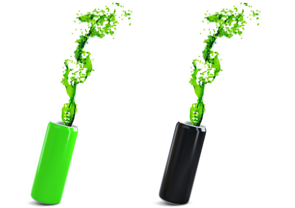 Green and black aluminium cans with energy drink.