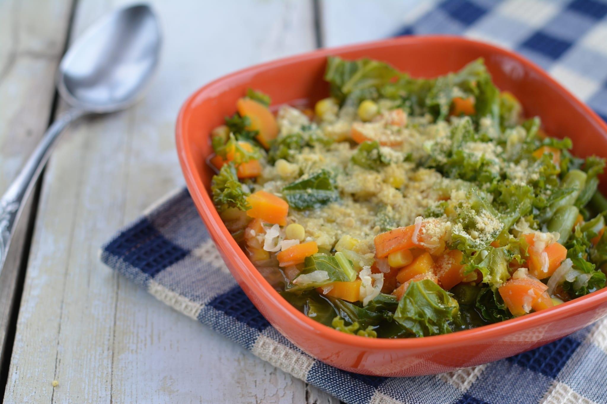Lentil-Kale-Carrot-Corn-Green Bean Soup