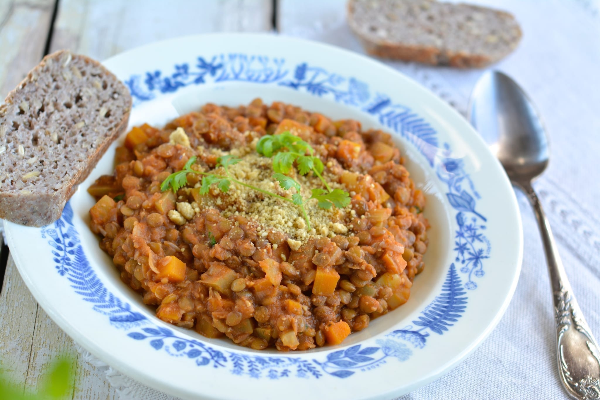 Green Lentil Stew with Tomatoes
