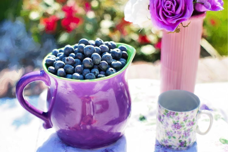 Blueberries in jar