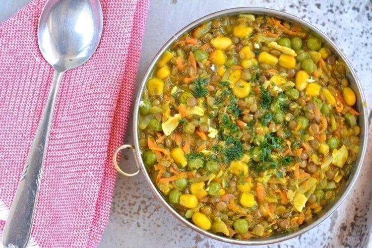 Stew, Brown Lentil-Corn-Green Peas