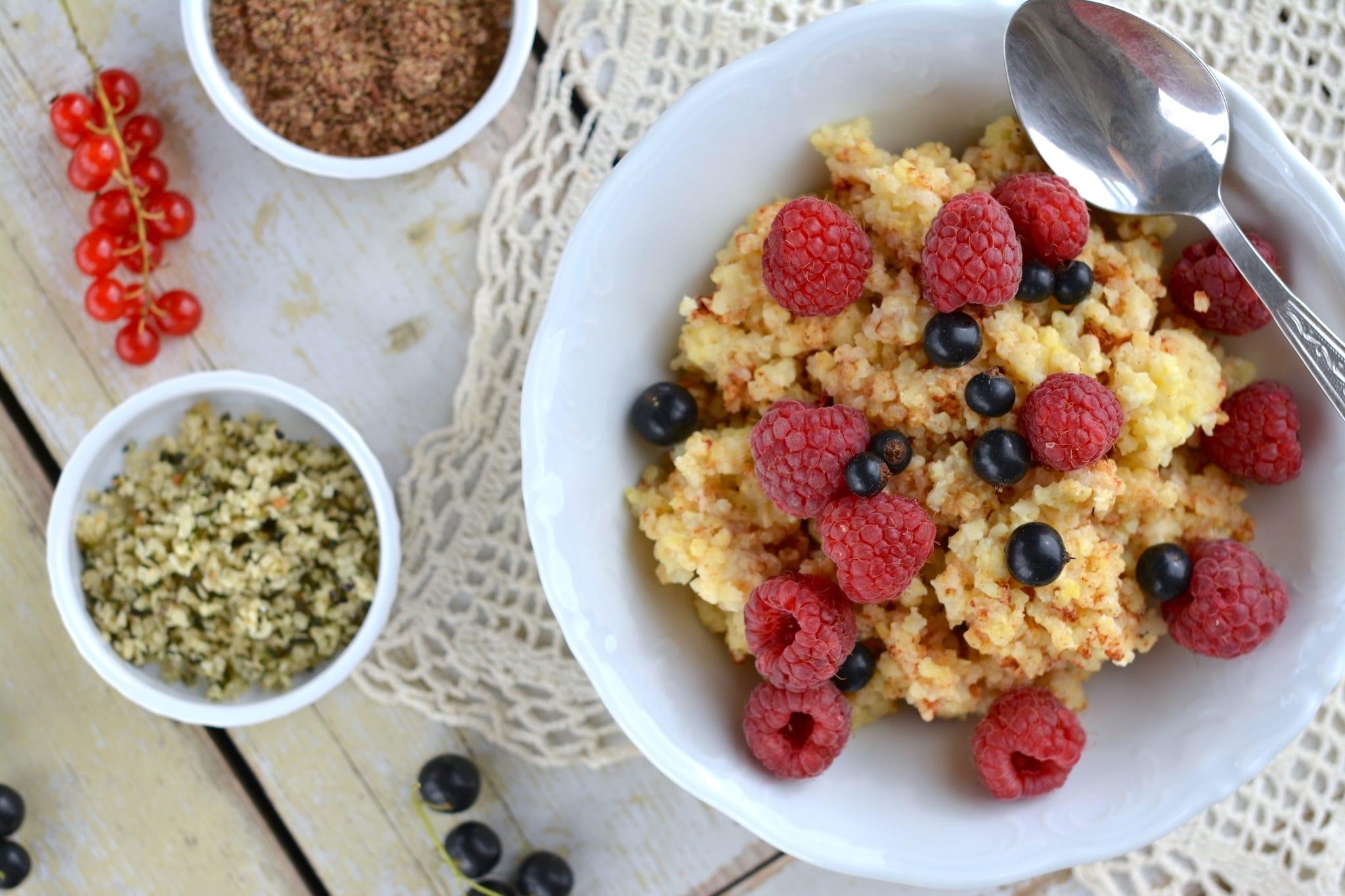 Millet Porridge with Raspberries