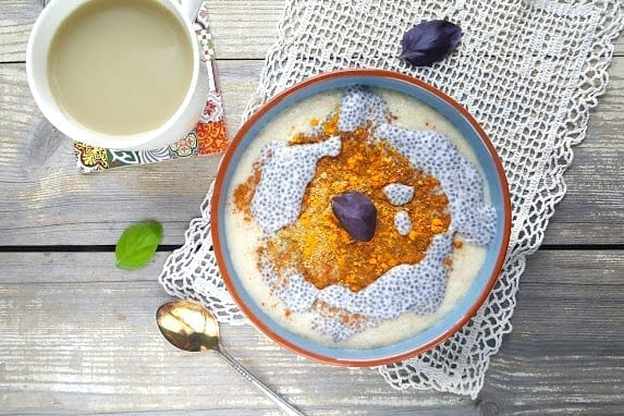 Oat Bran Porridge with chia pudding and spices, vegan candida diet meal plans