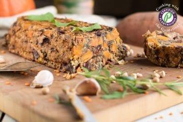 Vegan lentil loaf with nuts