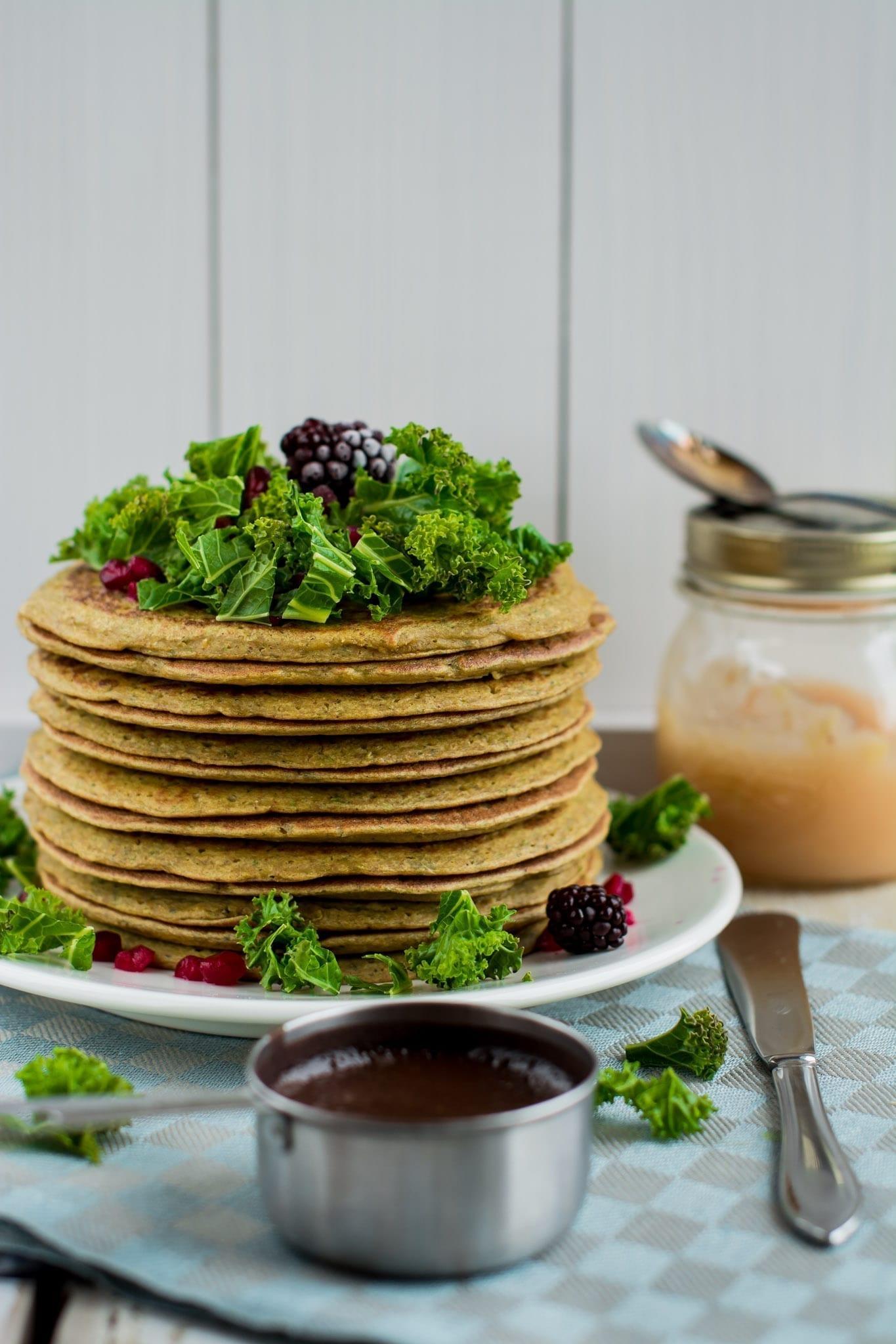 Pancakes, Tofu-Chickpea-Kale