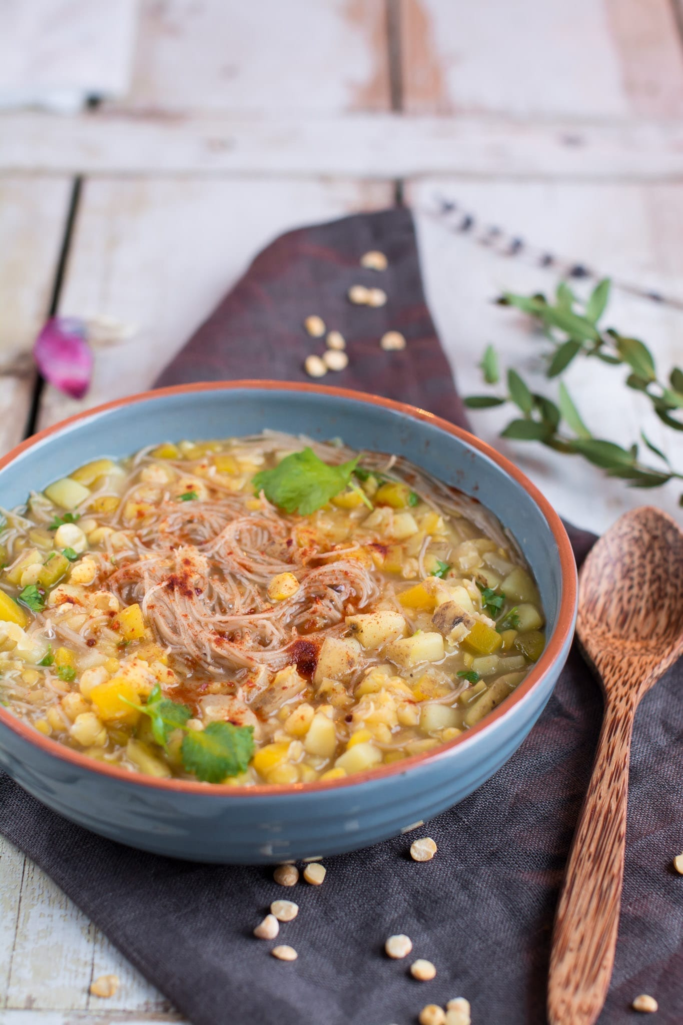 Smoky Split Pea Soup with Rice Noodles