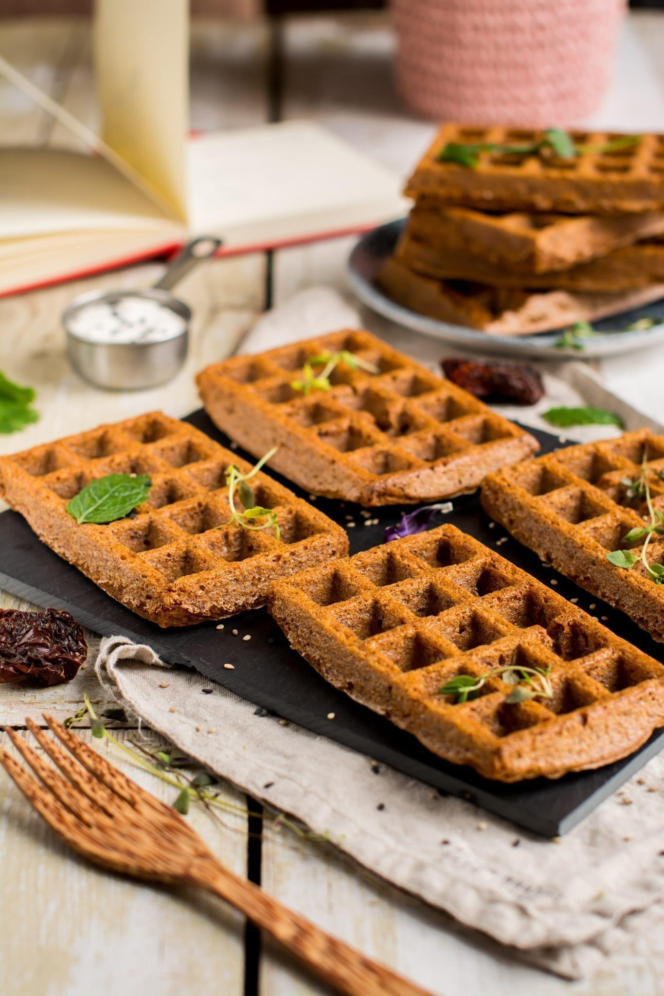 Vegan Gluten-Free Potato Waffles, Pizza Flavored