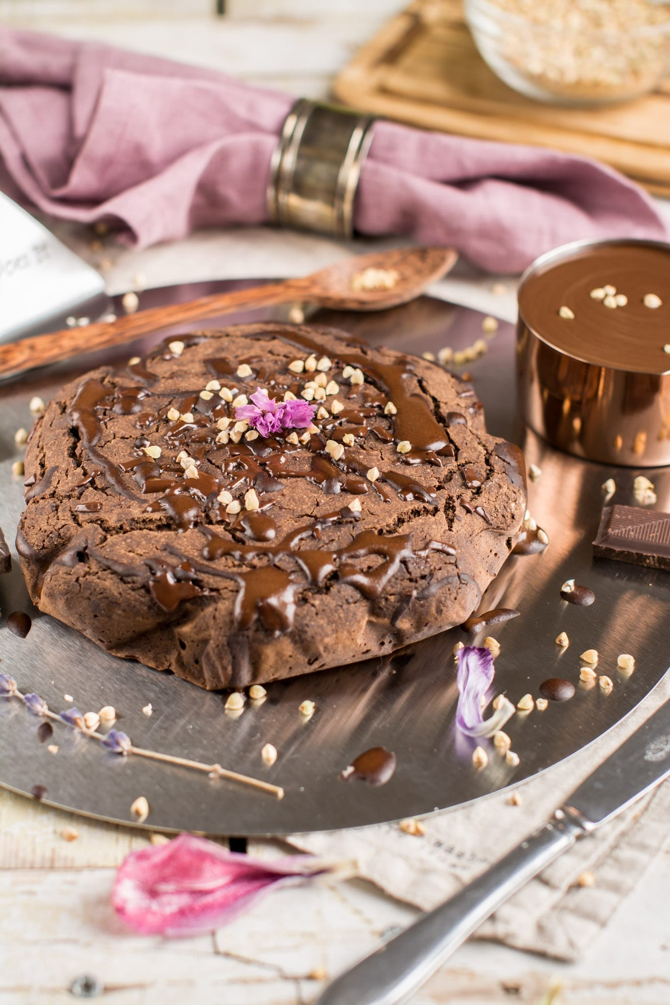 Vegan Brownies with Dark Chocolate, Oil-Free and Gluten-Free