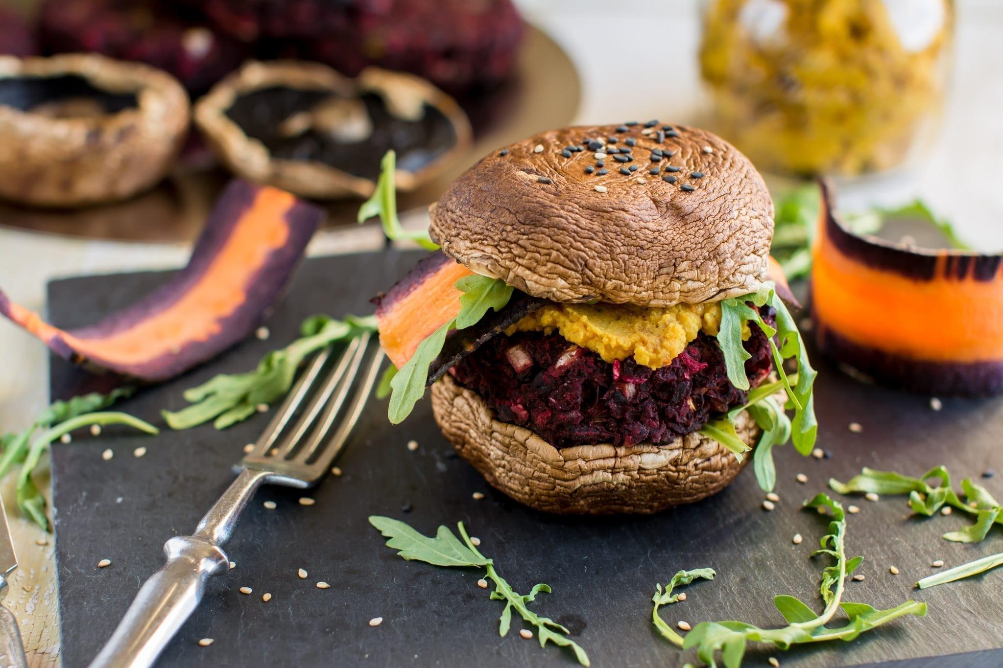 Vegan Portobello Burger with Black Bean-Beet Patty and Hummus