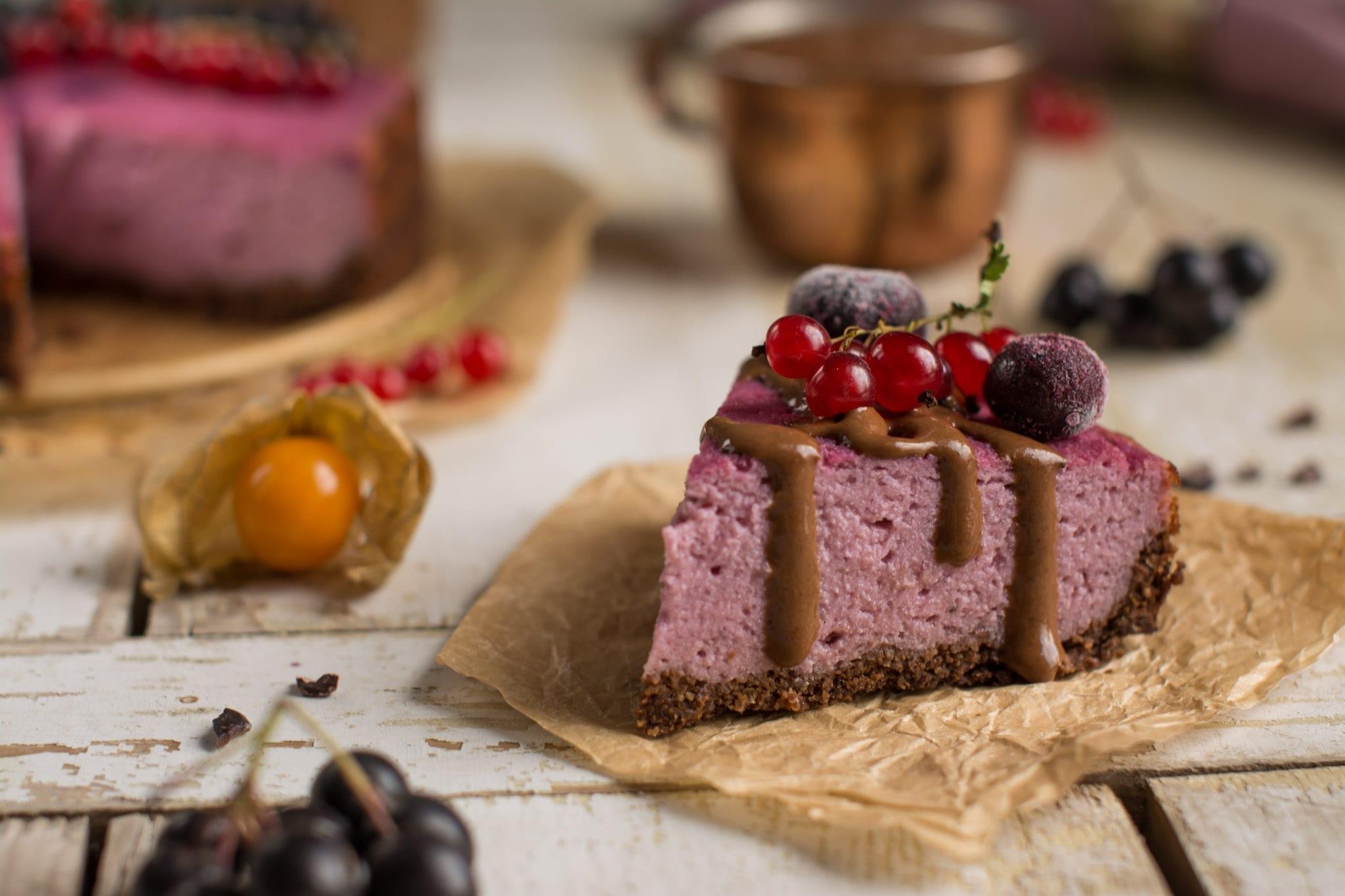 Tofu cheesecake with purple sweet potato