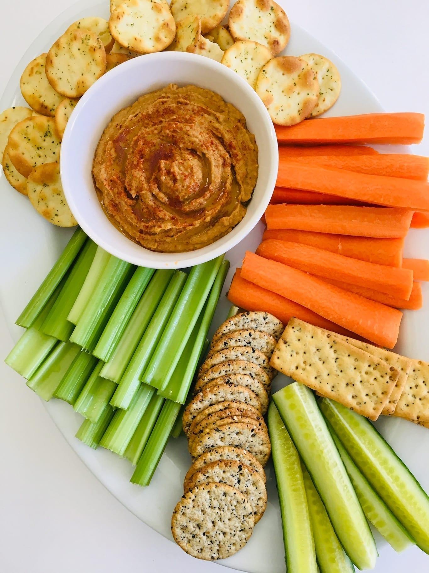 Peanut Butter Hummus Veggie Tray, Peanut Butter Recipes