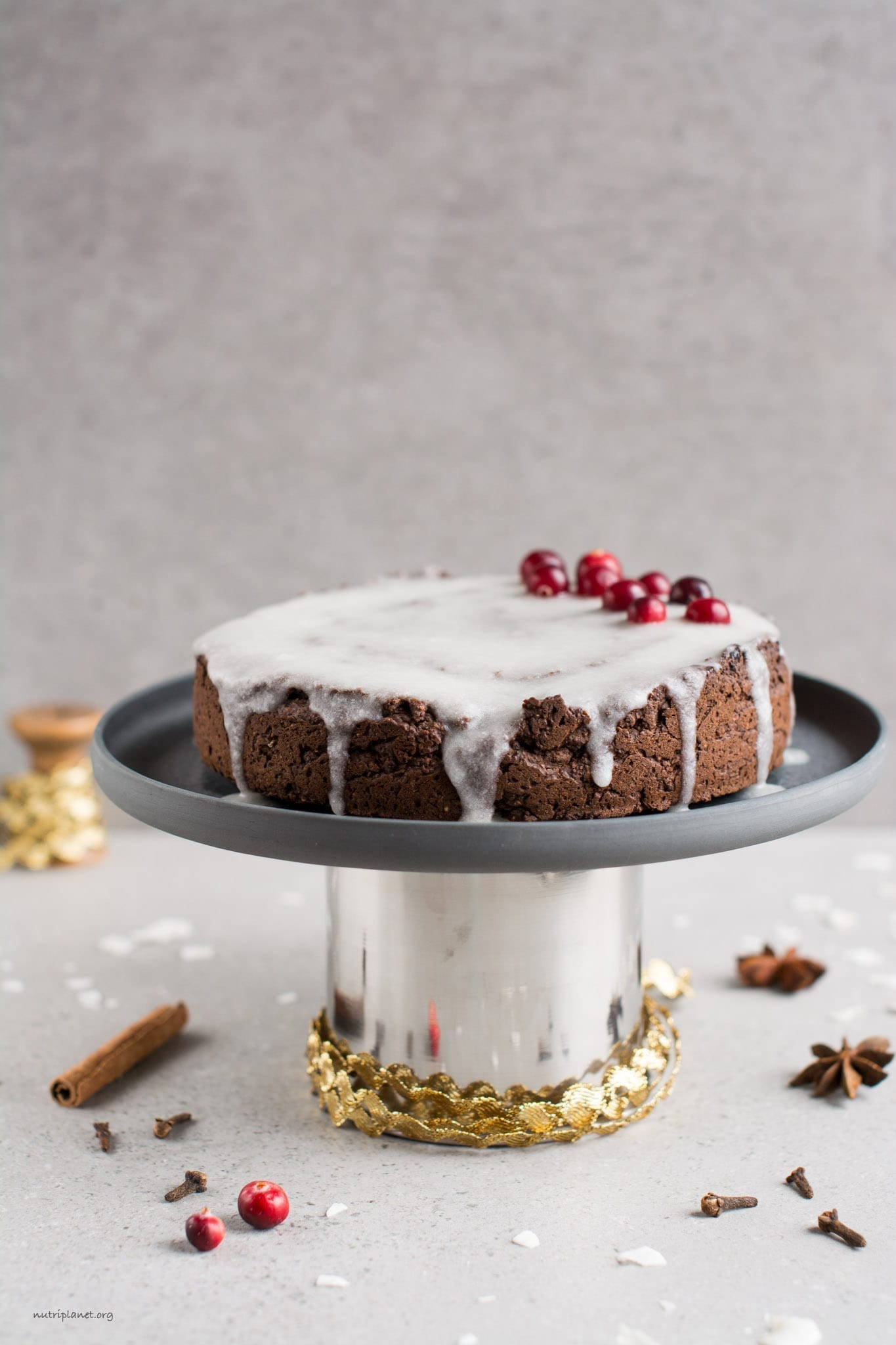 Gluten-Free Vegan Gingerbread Cake with Royal Icing
