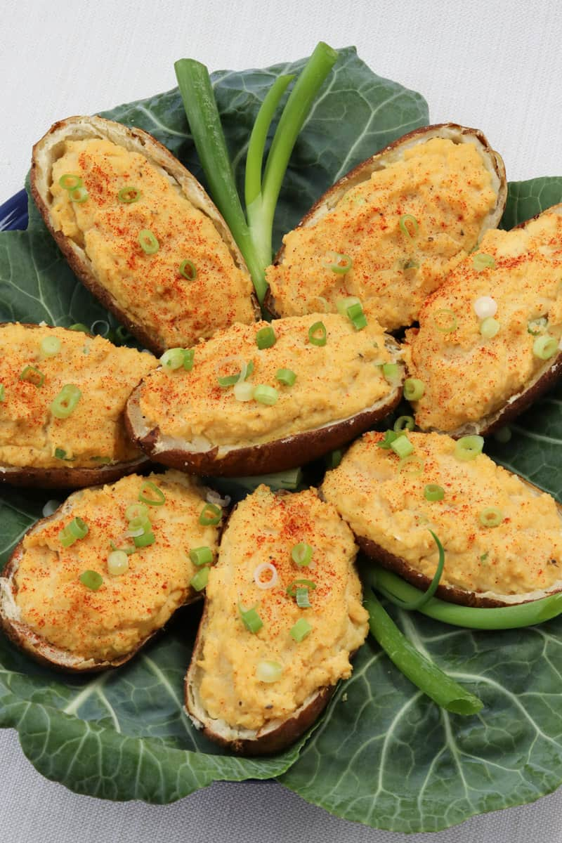 Vegan Christmas Dinner: Twice Baked Potatoes