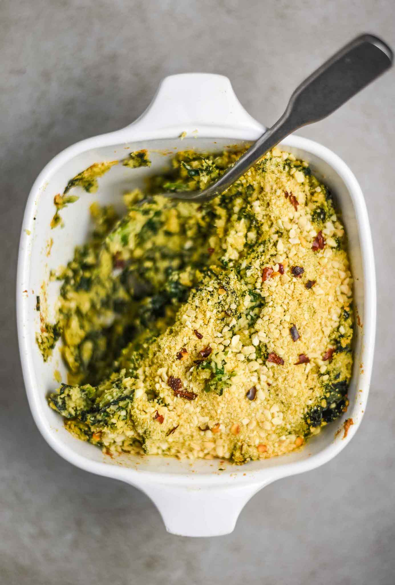 Vegan holiday recipes, spinach dip with kale