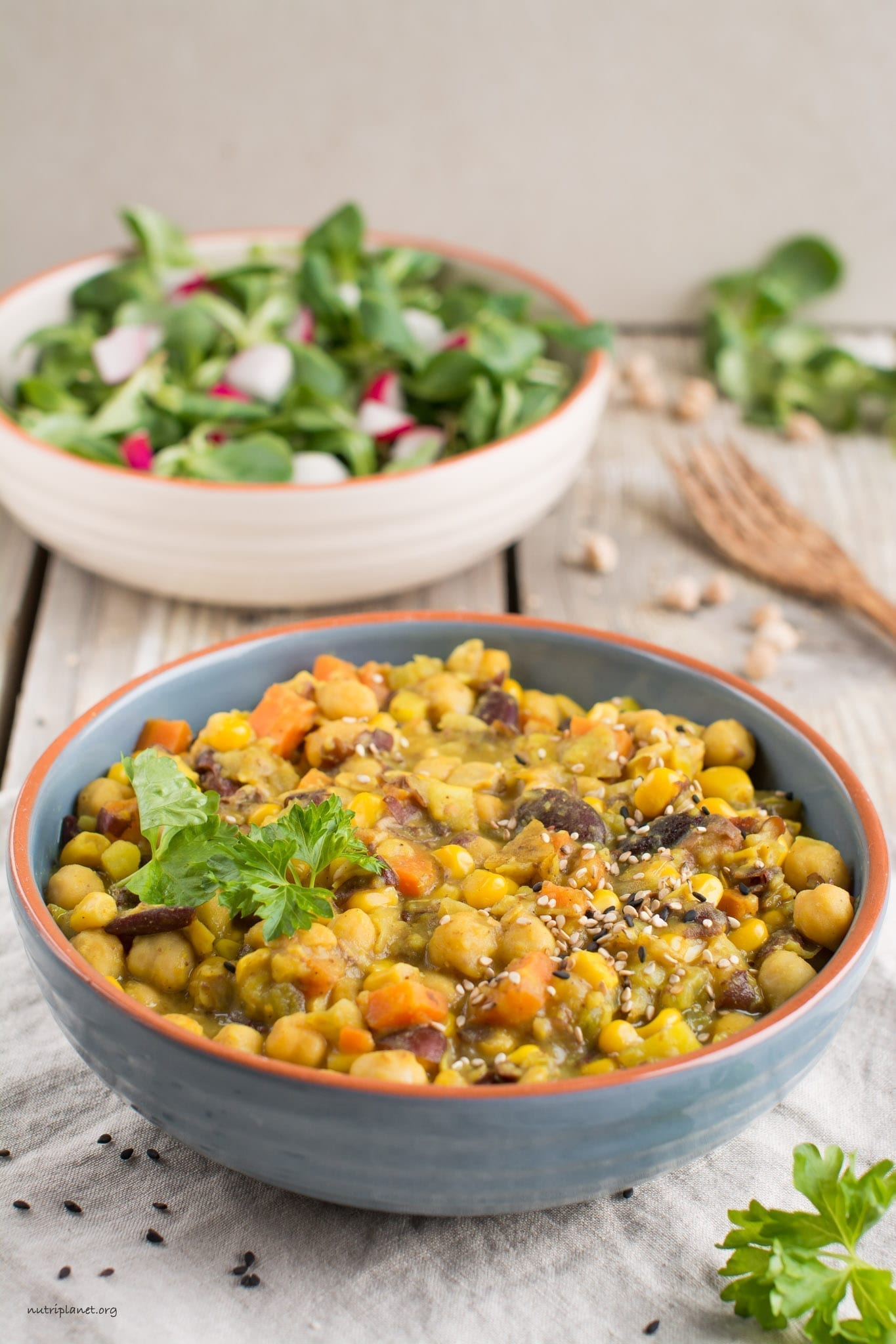 Hearty Vegan Curry with Chickpeas, Beans and Potato