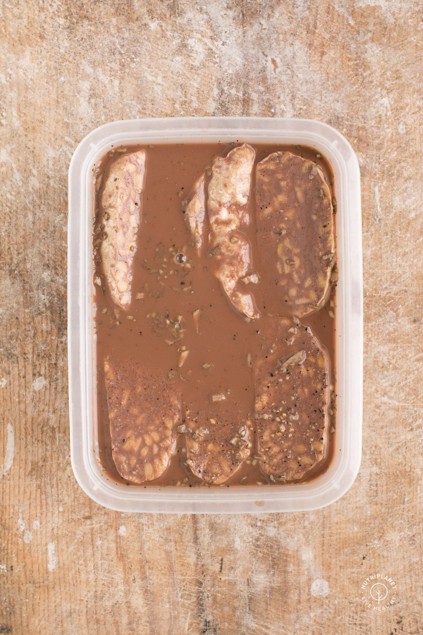 Baked Tempeh in Red Wine Marinade
