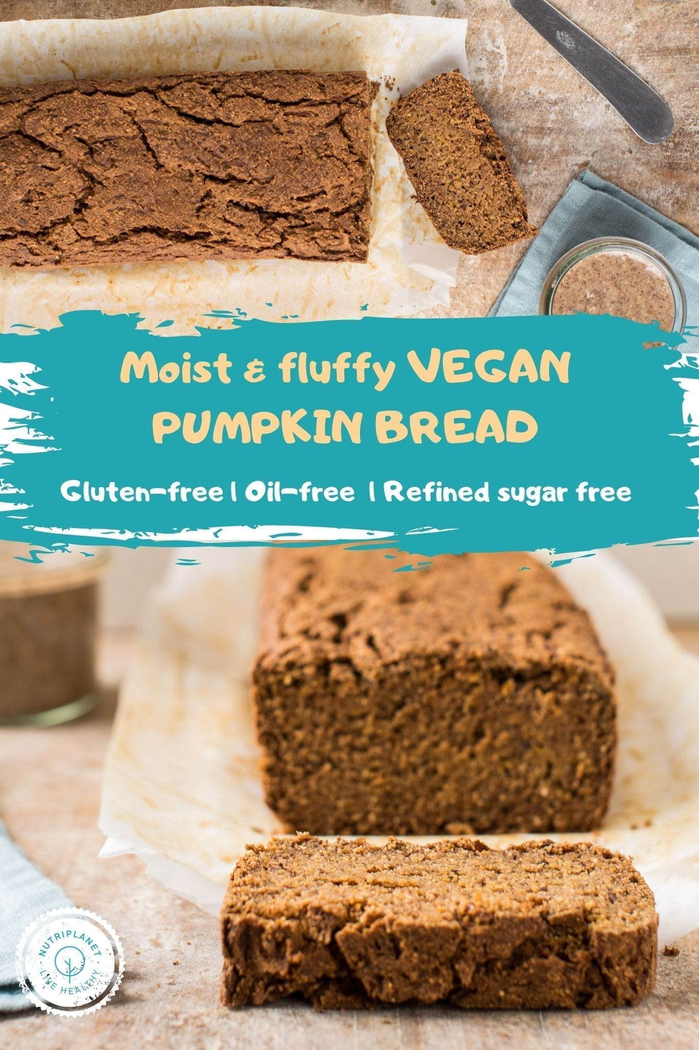 Perfectly moist vegan gluten-free pumpkin bread recipe that uses neither oils nor refined sugar.