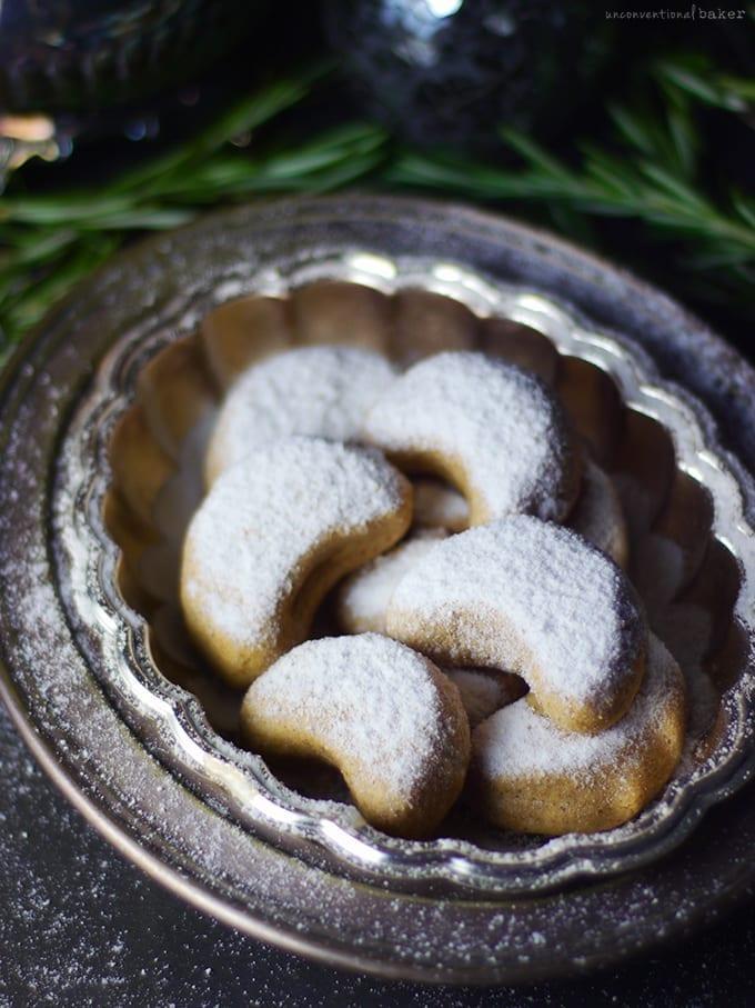 vegan gluten free almond crescent cookies