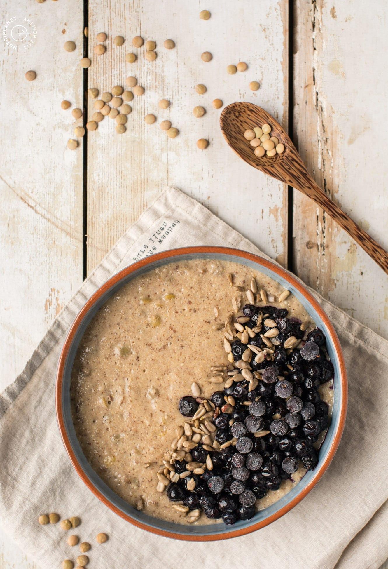 Low carb lentil oatmeal porridge