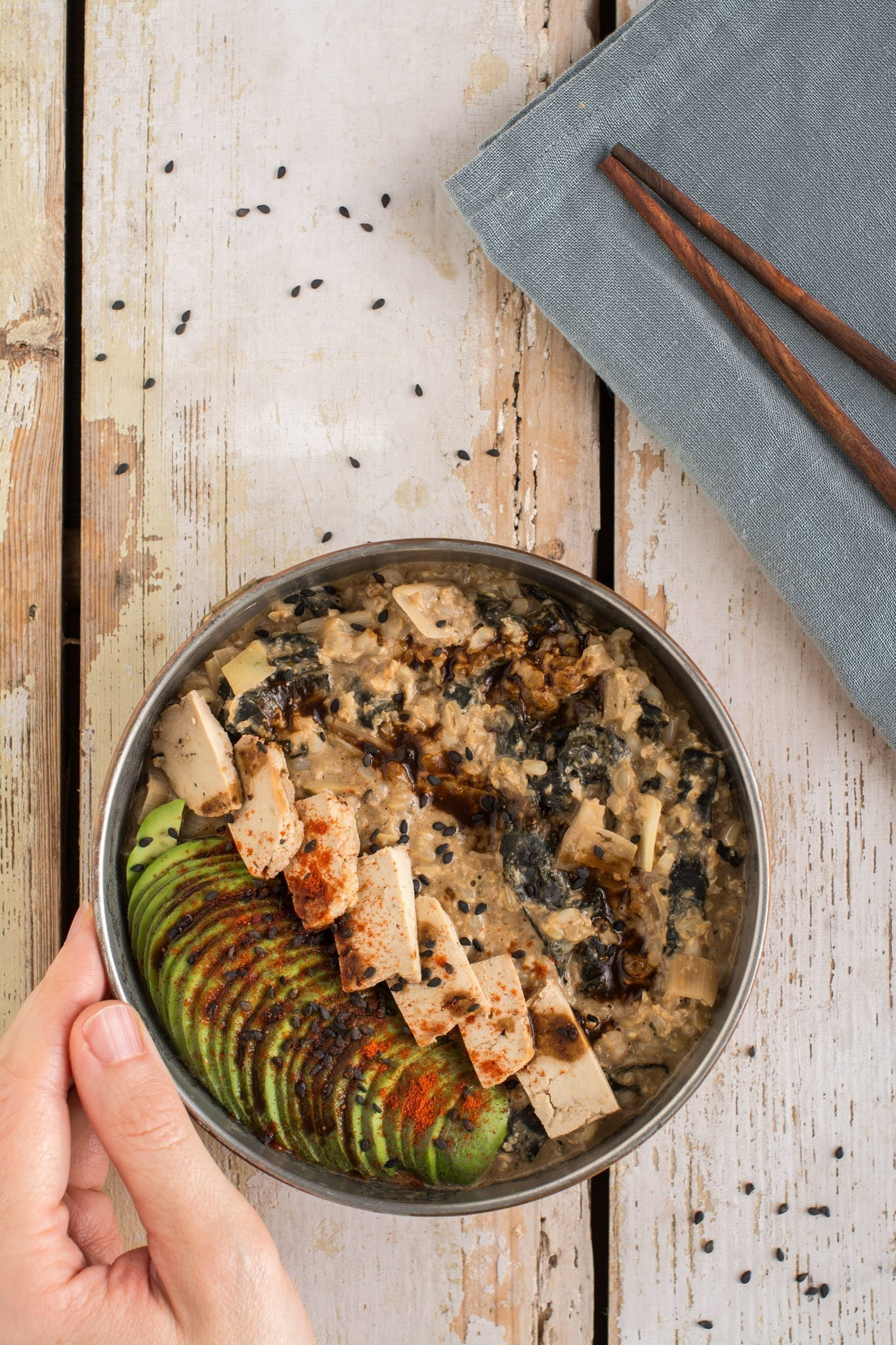 Try this vegan version of Japanese breakfast rice porridge with some healthy tweaks. It's like eating sushi for breakfast, but in the form of comforting porridge bowl.