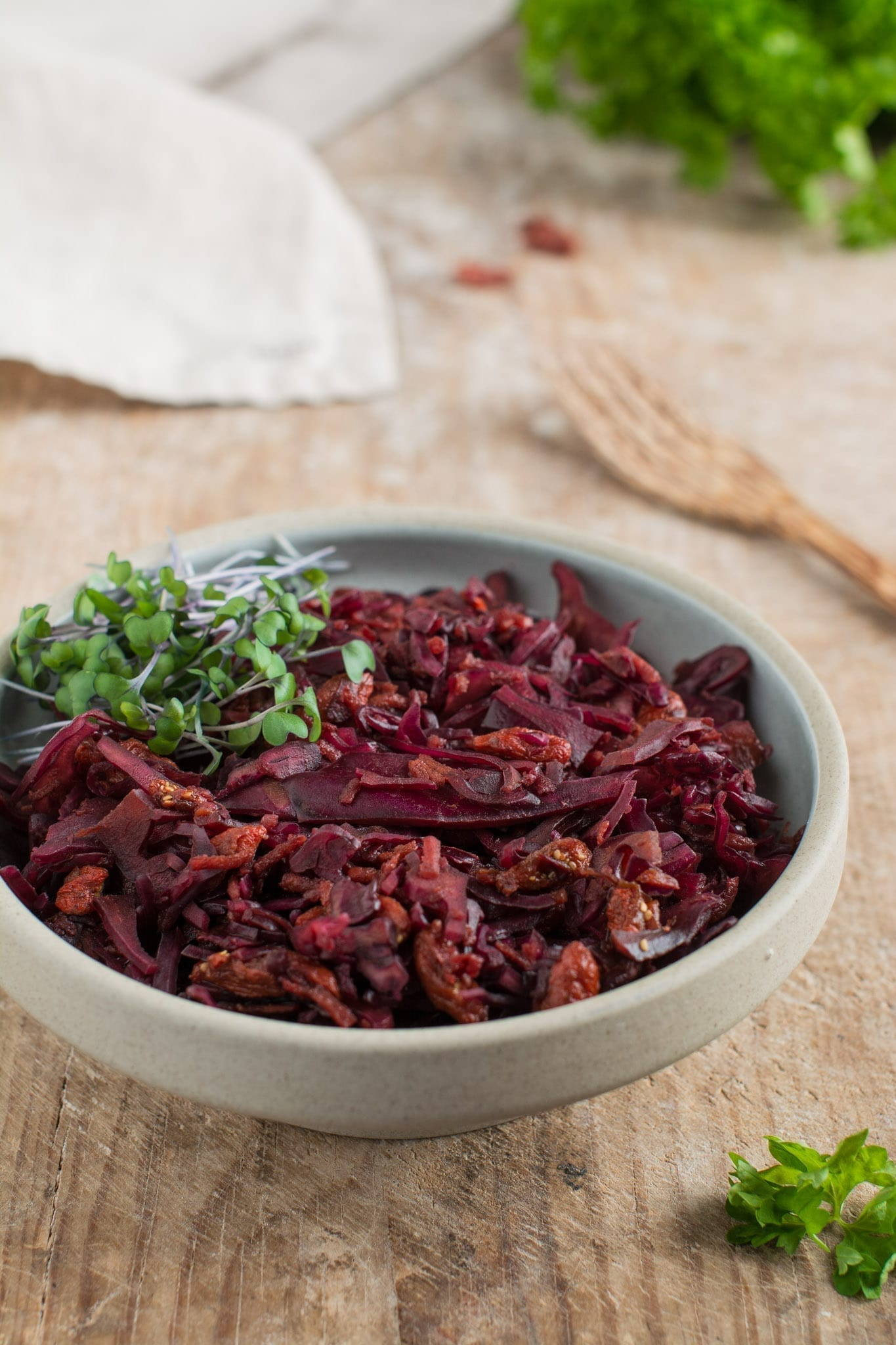 Vegan red cabbage coleslaw makes an excellent side dish packed with vitamins with an extra boost of friendly bacteria from miso paste.