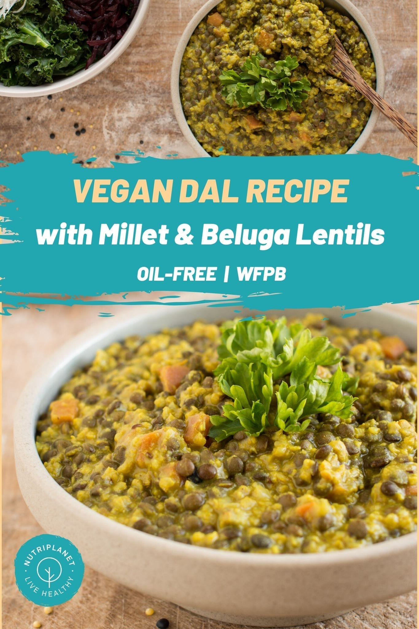 Easy and delicious oil-free vegan dal recipe with millet and black lentils