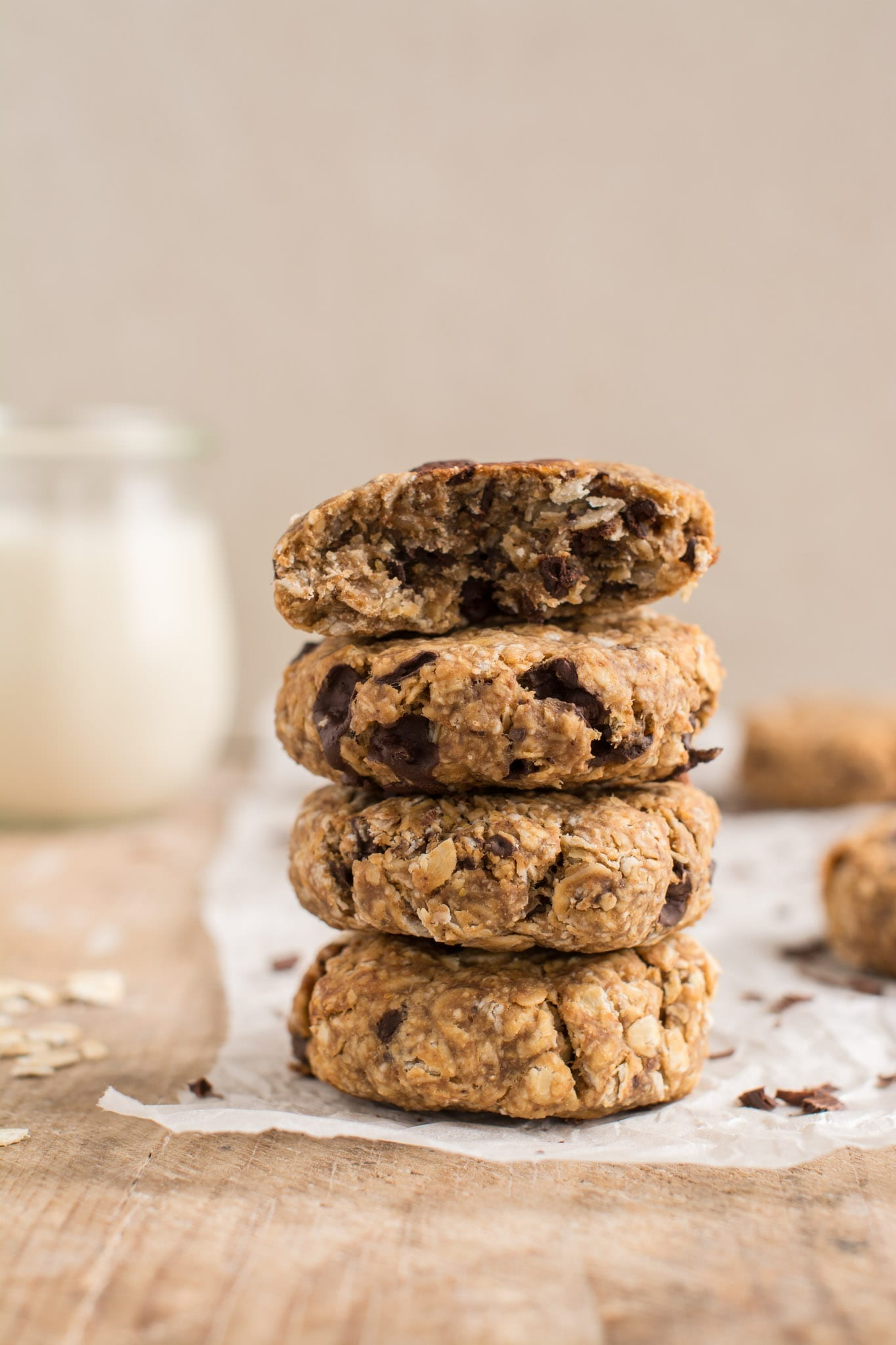 Super easy and delicious vegan oatmeal cookies that are soft and chewy using whole food plant-based ingredients.